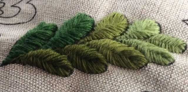 I do like this stitch. Here is a leaf in many shades of green.